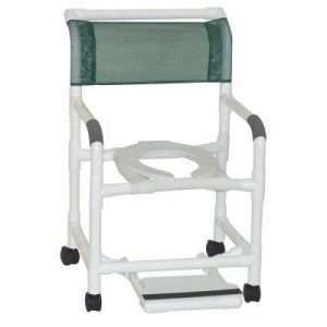 22″ PVC Shower Commode Chair with Sliding Footrest