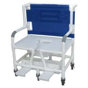 30″ Bariatric Commode Bath Chair with Sliding Footrest
