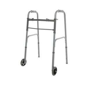 Two Button Folding Walker with 5″ Wheels