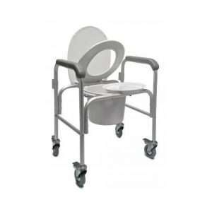 3-in-1 Aluminum Commode – Back Bar and Casters